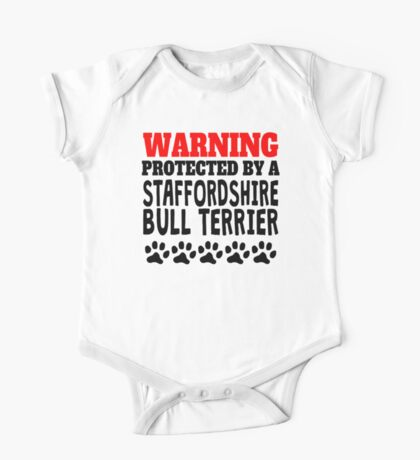 Protected By A Staffordshire Bull Terrier One Piece - Short Sleeve