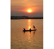 Red Sun Falling on the Mekong  Photographic Print