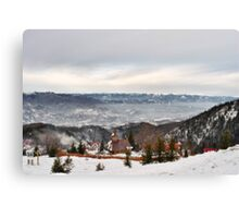 Snowy Mountains Landscape Canvas Print