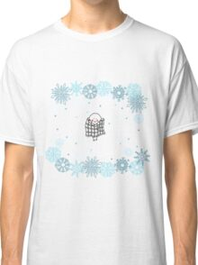 Funny birds bullfinch on winter background snowflakes Classic T-Shirt