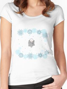Funny birds bullfinch on winter background snowflakes Women's Fitted Scoop T-Shirt