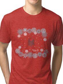 Funny birds bullfinch on winter background snowflakes Tri-blend T-Shirt