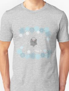 Funny birds bullfinch on winter background snowflakes T-Shirt