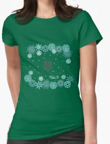 Funny birds bullfinch on winter background snowflakes Womens Fitted T-Shirt