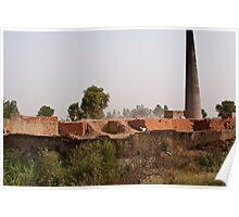 Brick kiln and pile of bricks Poster