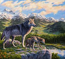 Mountain Valley Wolves - Mother Wolf and Pups by csforest