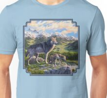 Mountain Valley Wolves - Mother Wolf and Pups Unisex T-Shirt
