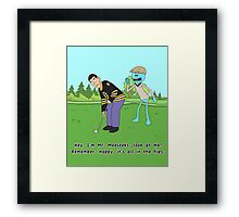 Mr. Meeseeks Happy Gilmore Parody Framed Print