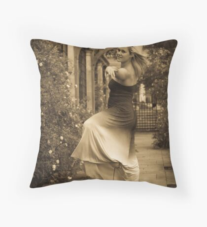 Young dancer in sepia color Throw Pillow