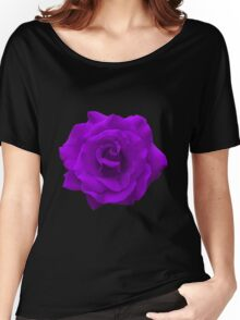 Single Large High Resolution Purple Rose Women's Relaxed Fit T-Shirt