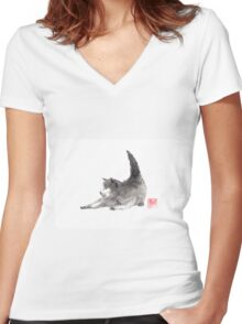 Ready to play? Women's Fitted V-Neck T-Shirt