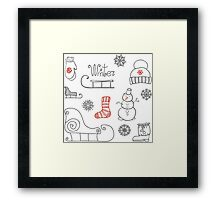 Freehand drawing Winter holiday Framed Print