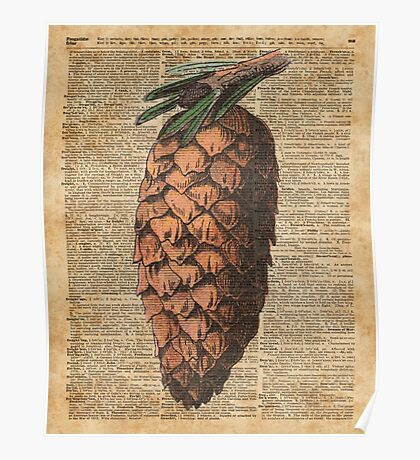 Pine Cone Vintage Dictionary Book Page Artwork  Poster