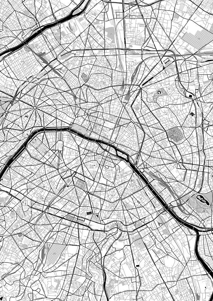 Paris OpenStreetMap Poster by Traut1