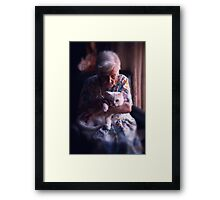 Mary with cat... Framed Print