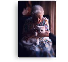 Mary with cat... Canvas Print
