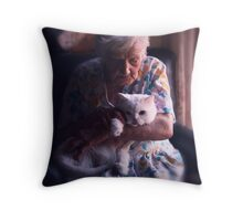 Mary with cat... Throw Pillow