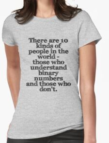 There are 10 kinds of people in the world - those who understand binary numbers and those who don't. Womens Fitted T-Shirt