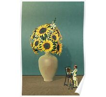 Painting Sunflowers - Surrealism Poster
