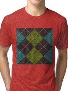 """Knit"" Green, Black, and Blue Argyle Tri-blend T-Shirt"