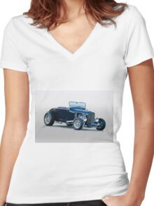 1930 Ford 'Blu Mood' Roadster Women's Fitted V-Neck T-Shirt