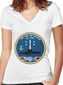 Mobile User Objective System 4 Program Logo Women's Fitted V-Neck T-Shirt