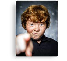 Fat freckled boy portrait Canvas Print