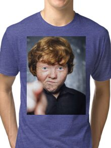 Fat freckled boy portrait Tri-blend T-Shirt