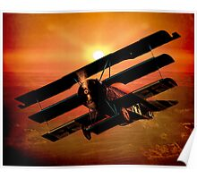 The Bloody Red Baron's Fokker at Sunset Poster