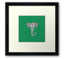 Elephant head with pink ribbon Framed Print