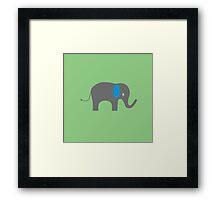 Cute Elephant with blue ears Framed Print