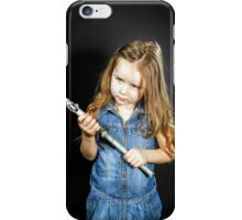 Cute little girl with gas spanner in her hands iPhone Case/Skin