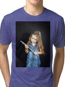 Cute little girl with gas spanner in her hands Tri-blend T-Shirt