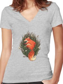Fox in the Brush Women's Fitted V-Neck T-Shirt