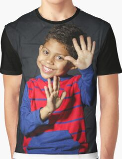 Emotional little black afro-american boy posing in studio Graphic T-Shirt