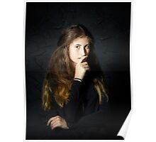 Cute young armenian girl posing in studio isolated on black Poster
