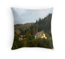 Little chapel on the hill Throw Pillow