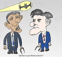 Caricature de Obama et Romney sous le Batsignale by Binary-Options