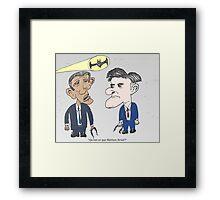 Caricature de Obama et Romney sous le Batsignale Framed Print