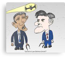 Caricature de Obama et Romney sous le Batsignale Canvas Print