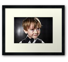 Freckled red-hair boy playing violin. Young musician. Framed Print