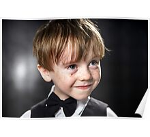 Freckled red-hair boy playing violin. Young musician. Poster