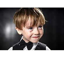 Freckled red-hair boy playing violin. Young musician. Photographic Print
