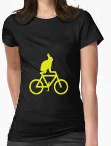 Hop On...Rabbit on a bike Womens Fitted T-Shirt