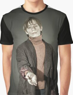 Young actor showing beggar. Old coat and dirty face. Graphic T-Shirt