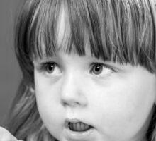 Cute little girl portrait in black and white colors Sticker