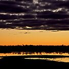 Dramatic Sunrise in Black & Gold by Helen Vercoe