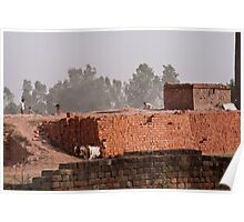 Workers at a brick kiln Poster