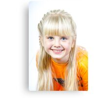 Cute little towhead girl portrait isolated on white background Canvas Print