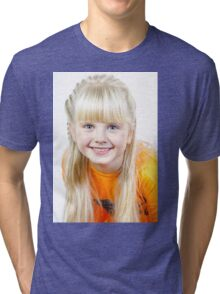 Cute little towhead girl portrait isolated on white background Tri-blend T-Shirt
